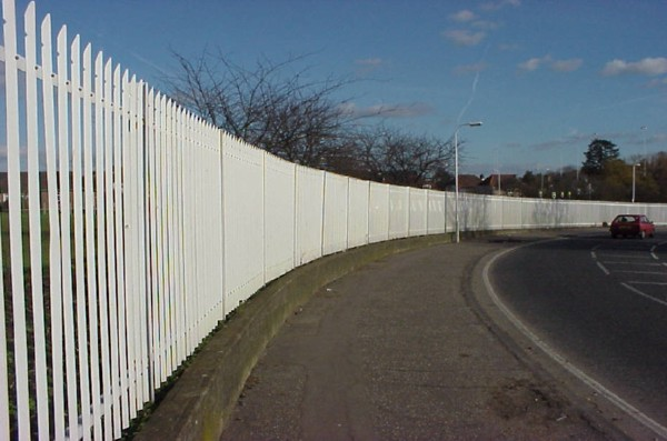 Palisade Fencing White, Security Fencing Pitsea Essex, Industrial Fencing
